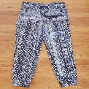 ANN TAYLOR blk white Printed loose Jogger Pants 2